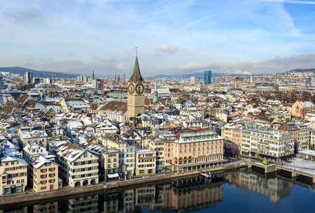 grossmunster cathedral: Zurich, Switzerland - 18 January 2016: view on the city from the tower of the Grossmunster Cathedral. Zurich is the largest city in Switzerland and the capital of the Swiss canton of Zurich.