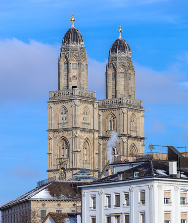 Towers of the Grossmunster Cathedral in the city of Zurich, Switzerland in winter. Stock Photo
