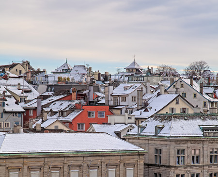 wintertime: Buildings in the historic part of the city of Zurich in wintertime.