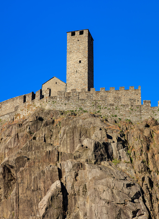 Part of medieval Castelgrande fortress in Bellinzona, Switzerland. The fortress is a UNESCO World Heritage Site and also belongs to the Swiss Inventory of Cultural Property of National and Regional Significance. The city of Bellinzona is the capital of th