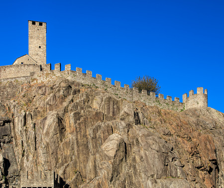 Part of medieval fortress Castelgrande in Bellinzona, Switzerland. The fortress is a UNESCO World Heritage Site and also belongs to the Swiss Inventory of Cultural Property of National and Regional Significance. The city of Bellinzona is the capital of th