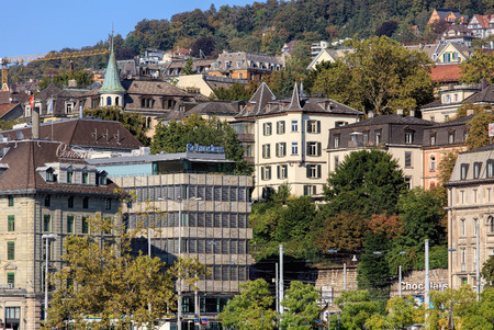 Zurich, Switzerland - 25 September, 2016: view from the Lindenhof park towards Central square. Zurich is the largest city in Switzerland and the capital of the Swiss canton of Zurich. Editorial