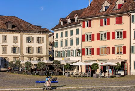 st gallen: Rapperswil, Switzerland - 12 September, 2016: historic buildings on Fischmarktplatz square. Rapperswil is a part of the municipality of Rapperswil-Jona in the Swiss canton of St. Gallen, located on the east side of Lake Zurich.