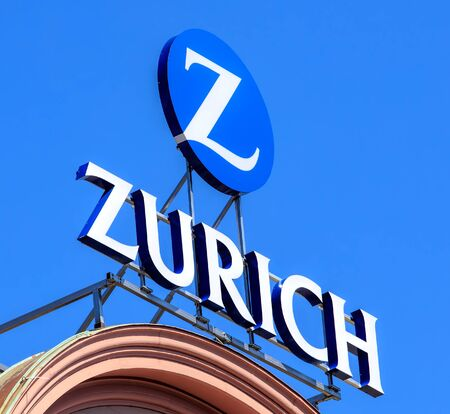 Basel, Switzerland - 27 August, 2016: Zurich Insurance Group sign on the top of a building. Zurich Insurance Group is the largest Swiss insurance company, headquartered in Zurich.