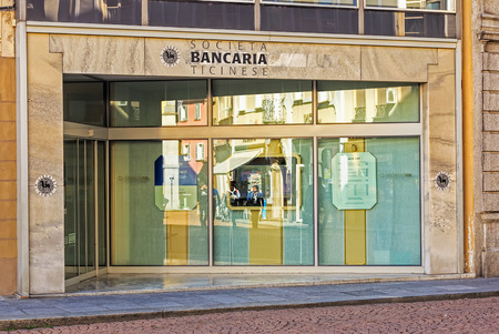 ticinese: Bellinzona, Switzerland - 12 October, 2016: entrance to the Societa Bancaria Ticinese bank office. Societa Bancaria Ticinese is a Swiss private bank, established in 1903 in the city of Lugano.