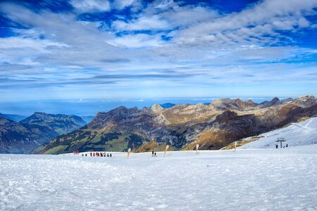 Mt. Titlis, Switzerland - 12 October, 2015: view on the top of the mountain. Mount Titlis is a mountain of the Uri Alps, located on the border between the Swiss Cantons of Obwalden and Bern.