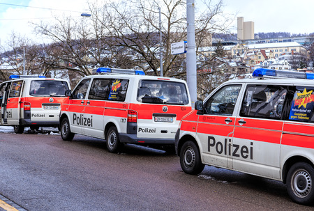 Zurich, Switzerland - 1 February, 2015: vans of Zurich municipal police parked at its main office. Zurich municipal police is the third largest police corps in Switzerland, after Zurich and Bern cantonal police corpses. Editorial