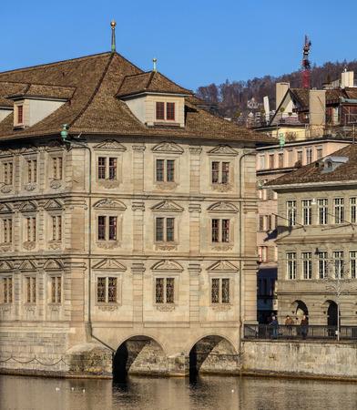 Zurich, Switzerland - 27 December, 2016: the Zurich Town Hall building. Zurich Town Hall (German: Rathaus) was built in 1694-1698 and currently houses the Cantonal Parliament (German: Kantonsrat) and the City Parliament (German: Gemeinderat).