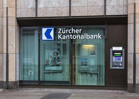 bankomat: Winterthur, Switzerland - 26 December, 2016: an ATM of the Zurich Cantonal Bank. Zurich Cantonal Bank (German: Zurcher Kantonalbank, or ZKB) is the largest cantonal bank and fourth largest bank in Switzerland.