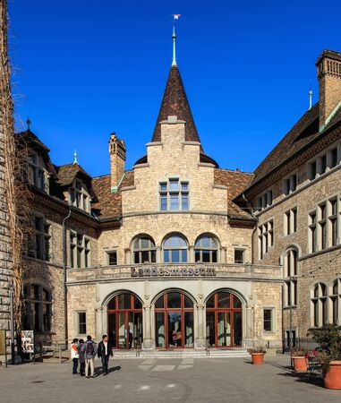 stoop: Zurich, Switzerland - 29 January, 2017: entrance to the Swiss National Museum. The Swiss National Museum (German: Landesmuseum) is one of the most important art museums of cultural history in Europe.