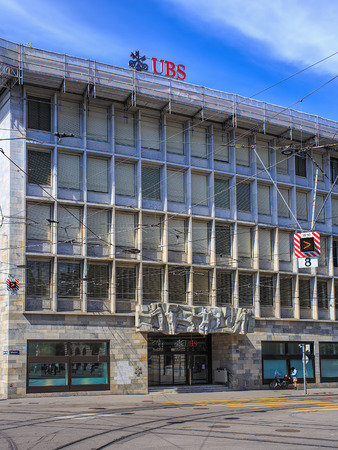 ag: Zurich, Switzerland - 14 May, 2015: facade of the UBS office building on Talacker street, view from Paradeplatz square. UBS AG is a Swiss global financial services company. Editorial