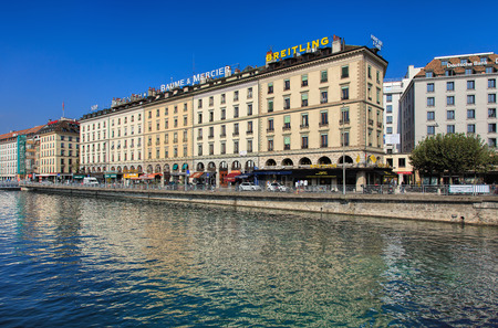 Geneva, Switzerland - 24 September, 2016: the Rhone river and buildings along it. The city of Geneva is the capital of the Swiss Canton of Geneva and the second most populous city in Switzerland. Editorial