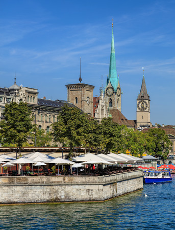 Zurich, Switzerland - 31 August, 2015: the Limmat river and buildings along it. Zurich is the largest city in Switzerland and the capital of the Swiss canton of Zurich.