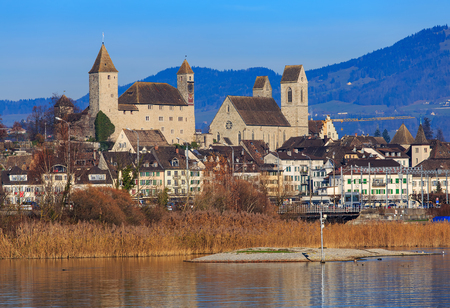 Rapperswil, Switzerland - 30 November, 2016: view of the town from Lake Zurich. Rapperswil is a part of the municipality of Rapperswil-Jona in the Swiss canton of St. Gallen, located at the east side of Lake Zurich.