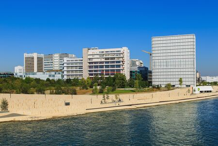 Basel, Switzerland - 27 August, 2016: embankment of the Rhine river, buildings of Novartis, view from Dreirosenbruecke bridge. Novartis International AG is a Swiss pharmaceutical company based in Basel, ranking number one in sales in the pharmaceutical in Editorial