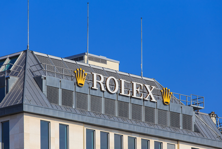 Geneva, Switzerland - 24 September, 2016: Rolex sign on the roof of a building. Rolex SA is a Swiss luxury watchmaker based in in Geneva, Switzerland. Editorial
