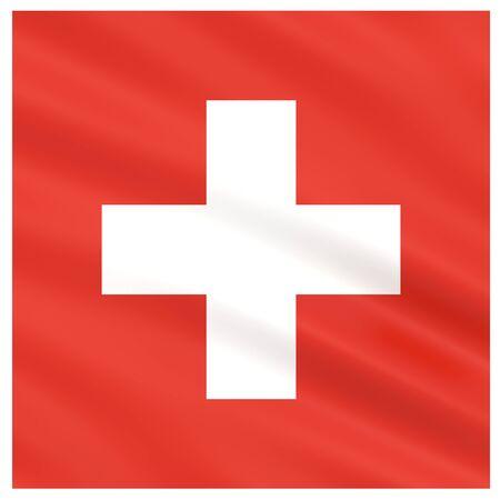 Légèrement agitant le drapeau de la Suisse isolé sur fond blanc, rendu 3D. Banque d'images - 78882633