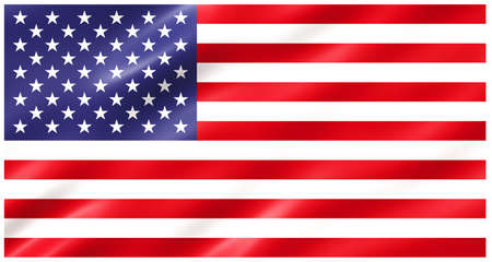 Slightly waving flag of the United States of America isolated on white background, 3D rendering. Фото со стока