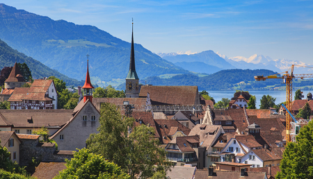 View of the city of Zug in Switzerland in summertime. Stock Photo