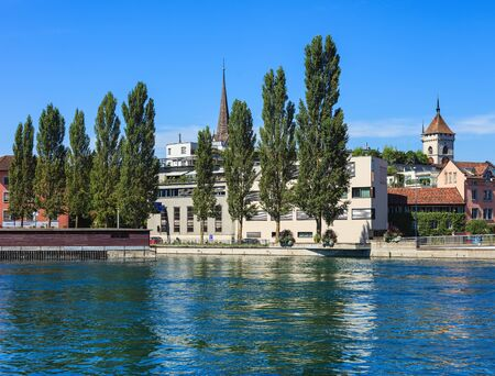 Schaffhausen, Switzerland - 29 August, 2015: buildings along the Rhine river. Schaffhausen is a city in northern Switzerland and the capital of the Swiss canton of Schaffhausen. Editorial