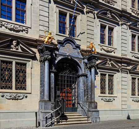 Zurich, Switzerland - 18 June, 2017: entrance to the Rathaus building closed on Sunday. The Rathaus is Zurichs Town Hall, it was built during 1694-1698, the canton of Zurich owns it since 1803. It houses both legislative chambers - the cantonal parliamen Editorial