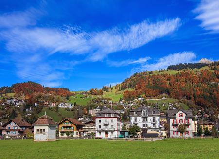 Engelberg, Switzerland - 12 October, 2015: view of the town of Engelberg in autumn. Engelberg is a resort town and municipality in the Swiss canton of Obwalden. Editorial