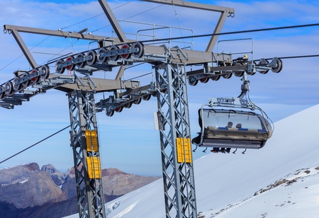 Mt. Titlis, Switzerland - 12 October, 2015: a gondola of the