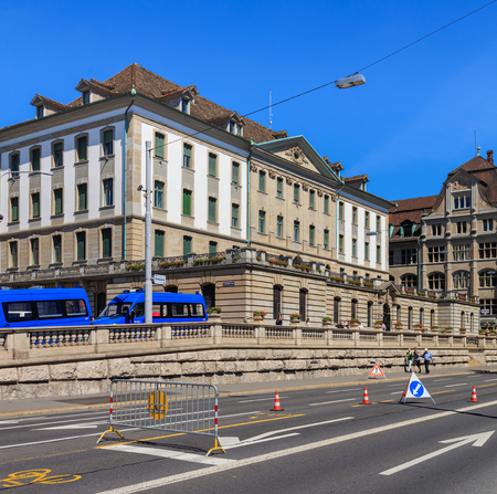 corpses: Zurich, Switzerland - 18 June, 2017: the main office of Zurich Municipal Police, view from Bahnhof quay. Zurich Municipal Police (German: Stadtpolizei Zurich) is the third largest police corps in Switzerland, after Cantonal Police corpses of Zurich and Be Editorial