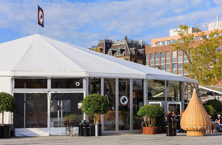 Zurich, Switzerland - 29 September, 2017: venue of Zurich Film Festival on Sechselautenplatz square. The Zurich Film Festival takes place annually at the end of September since 2005, in 2017 it lasts from 28 September till 8 October.