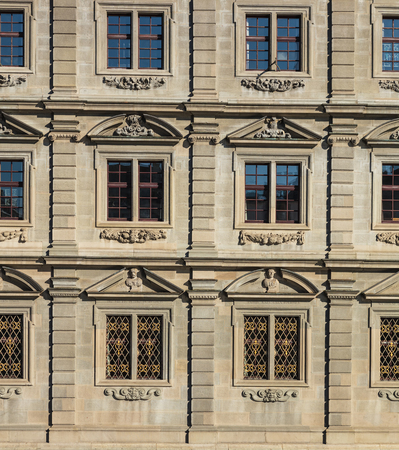 Zurich, Switzerland - 15 October, 2015: windows of the Zurich Rathaus building. Rathaus is Zurichs Town Hall, it houses the cantonal parliament (German: Kantonsrat) and the city Parliament (German: Gemeinderat). The building was built from 1694-1698. Editorial
