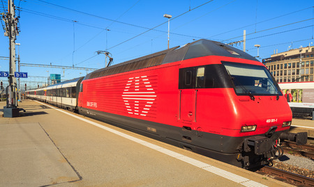 Zurich, Switzerland - 14 October, 2014: a passenger train of the Swiss Federal Railways arriving to the Zurich main station. Zurich main station is the largest railway station in Switzerland and one of the busiest railway stations worldwide.