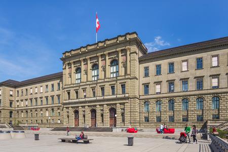 Zurich, Switzerland - 12 April, 2015: facade of the main building of the Swiss Federal Institute of Technology. The Swiss Federal Institute of Technology (German: ETH Zurich - Eidgenossische Technische Hochschule Zurich) is an engineering, science, techno Editorial