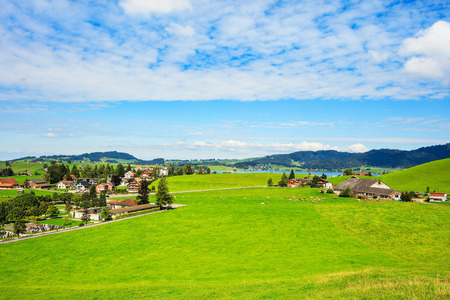 View in the town of Einsiedeln in Switzerland in autumn. Einsiedeln is a municipality and district in the Swiss canton of Schwyz, known for its monastery, the Benedictine Einsiedeln Abbey, it is also the birthplace of Paracelsus, a Renaissance physician and alchemist. Standard-Bild