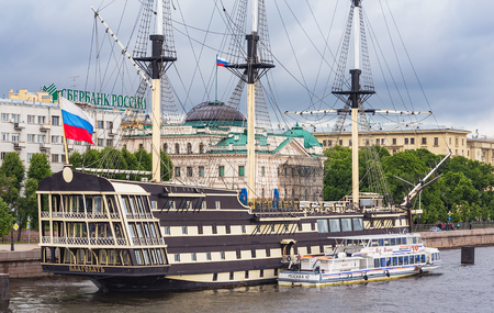 St. Petersburg, Russia - 8 July, 2015: ship Blagodat at the embankment of the Neva river. The ship is a modern imitation of a three-deck frigate of the XVIII century, it houses a restaurant.