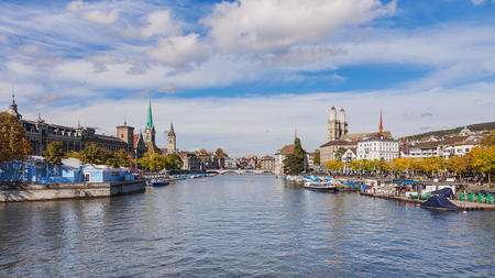 View along the Limmat river in the city of Zurich, Switzerland.