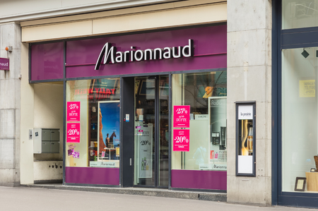 Zurich, Switzerland - 17 April, 2016: entrance to the Marionnaud store on Bahnhofstrasse street. Marionnaud Parfumeries SAS manufactures and distributes perfumes, cosmetics, and beauty products, Bahnhofstrasse is Zurichs main downtown street and one of t Editorial