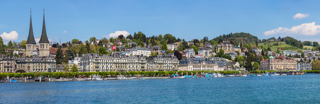 Lucerne, Switzerland - 8 May, 2016: buildings of the city of Lucerne along Lake Lucerne. Lucerne is a city in central Switzerland, it is the capital of the Swiss canton of Lucerne and the capital of the district of the same name.
