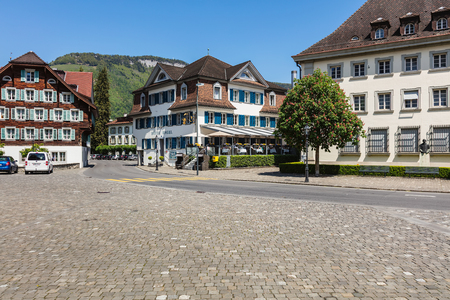 Stans, Switzerland - 8 May, 2016: view from Dorfplatz square in the central part of the town of Stans. The town of Stans is the capital of the Swiss canton of Nidwalden.