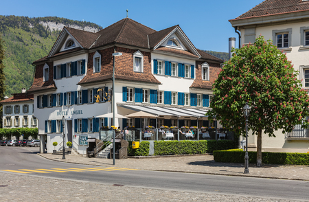 Stans, Switzerland - 8 May, 2016: buildings at Dorfplatz square in the central part of the town of Stans. The town of Stans is the capital of the Swiss canton of Nidwalden. Editöryel