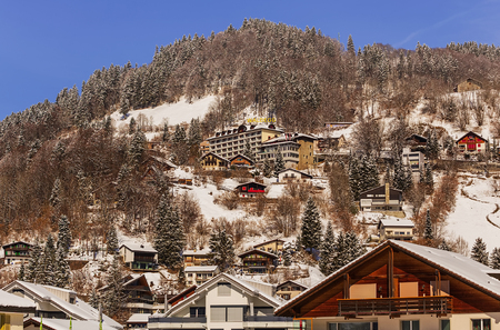 Engelberg, Switzerland - 9 March, 2016: buildings of the town of Engelberg. Engelberg is a resort town and a municipality in the Swiss canton of Obwalden.