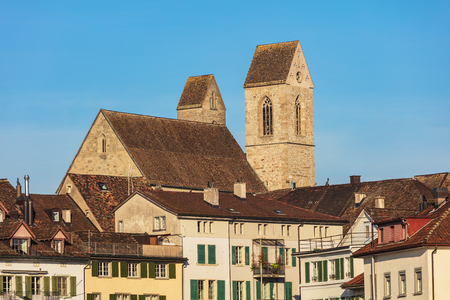 Buildings of the historic part of the town of Rapperswil in the Swiss canton of St. Gallen. Stock Photo