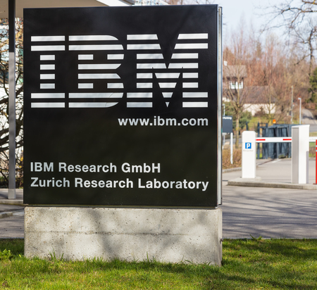 Ruschlikon, Switzerland - April 2, 2018: a stele at the entrance to IBM Research - Zurich. IBM Research - Zurich (previously called IBM Zurich Research Laboratory) is the European branch of IBM Resear