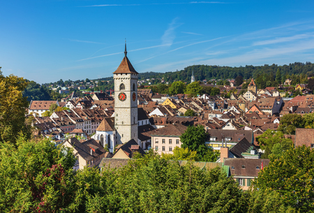 View of the city of Schaffhausen at the end of summer. Schaffhausen is a city in northern Switzerland and the capital of the Swiss canton of Schaffhausen. Stok Fotoğraf - 104275171