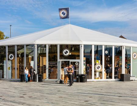 Zurich, Switzerland - September 29, 2017: venue of the Zurich Film Festival on Sechselautenplatz square. The Zurich Film Festival takes place annually at the end of September since 2005, in 2017 it lasted from 28 September till 8 October. Editorial