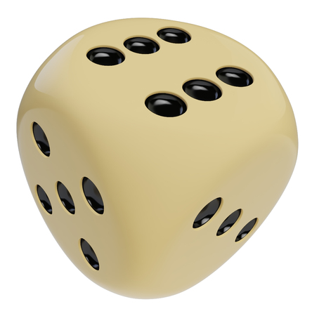 A dice with rounded corners on white background, 3D rendering.