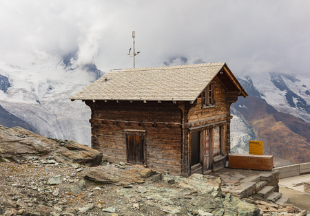 Gornergrat, Switzerland - September 16, 2018: view on the summit of the Gornergrat in autumn. The Gornergrat (English: Gorner Ridge) is a rocky ridge overlooking the Gorner Glacier located south-east of the town of Zermatt in Switzerland, it can be reache