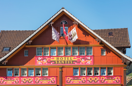Appenzell, Switzerland - September 20, 2018: upper part of the building of the Romantik-Hotel Santis in the town of Appenzell, view from Landsgemeindeplatz square. Appenzell is the capital of the Swiss canton of Appenzell Innerrhoden, known for its orname Editorial