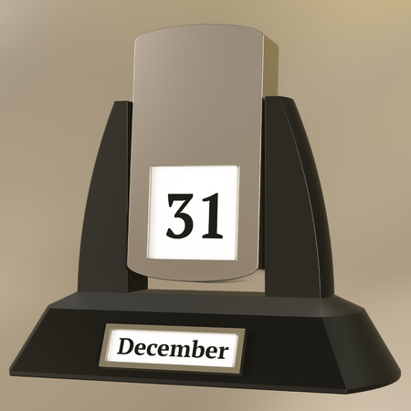 3D rendering of a vintage flip calendar showing the date of December 31 Фото со стока
