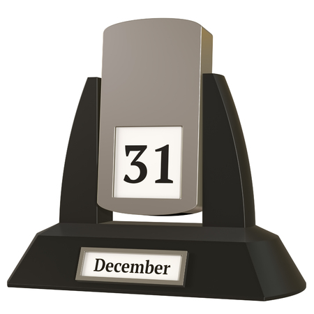 3D rendering of a vintage flip calendar showing the date of December 31 on white background. Stock Photo