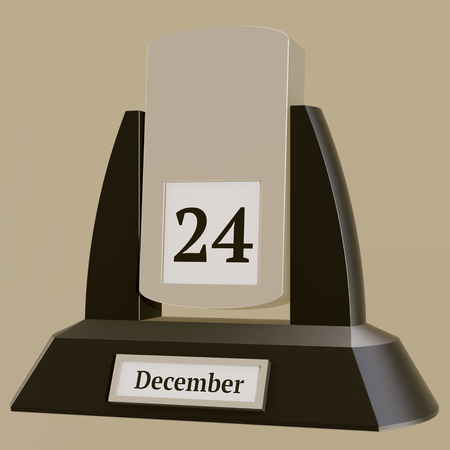 3D rendering of a vintage flip calendar showing the date of December 24.